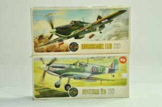 Airfix duo of plastic model aircraft kits comprising 1/72 Hurricane and Spitfire. Both appear