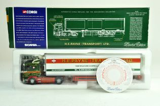 Corgi diecast truck issue comprising 1/50 No. 76601 Scania Fridge Trailer in the livery of HE Payne.