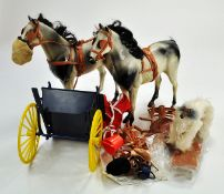 Vintage Sindy Horses and Gig, Dapple Grey with saddle and bridle, reins and gig. Slight play marks