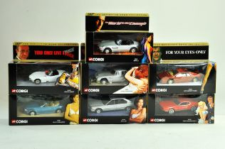 A group of seven Corgi James Bond Diecast issues. Excellent in Boxes.