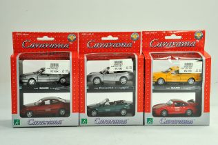Trio of Cararama Diecast 1/43 car sets. Excellent in boxes.