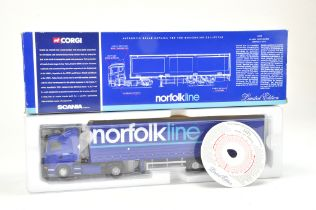 Corgi 1/50 Diecast Truck issue comprising No. 76402 Scania Curtainside in the livery of Norfolk