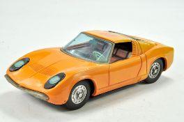 Asakusa Battery Operated Tin Plate Lamborghini Miura in orange. Good working order, some marks and