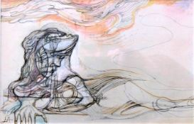 LESLIE HURRY [1909-78]. Reclining Figure. watercolour and ink; signed with initials. Also signed and