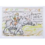 FRANK AUERBACH [1931 - ]. Elephant & Rider. ink & crayon on paper [dedicated by the artist in