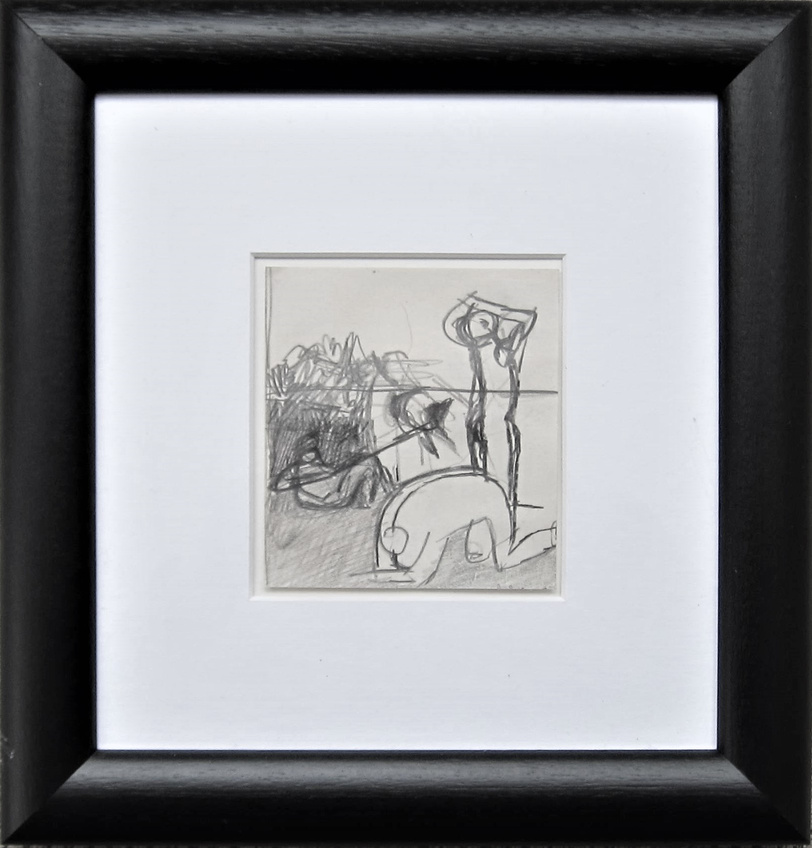 KEITH VAUGHAN [1912-77]. Figures. pencil on paper. 11 x 10 cm - overall including frame 28 x 27 - Image 2 of 2