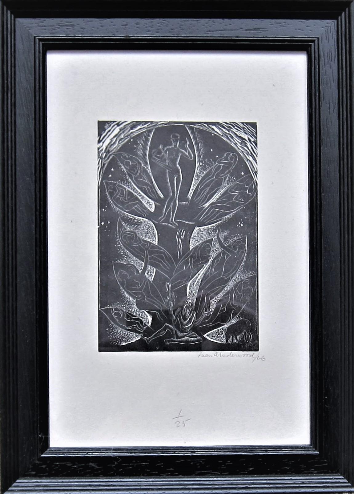 LEON UNDERWOOD [1890-1975]. Figure & Tree [Music..], 1926. wood engraving, edition of 25; 1/25; - Image 2 of 2