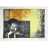 MICHAEL AYRTON [1921-75]. Harmonica Player, 1956. Lithograph on wove paper, signed and numbered 21/