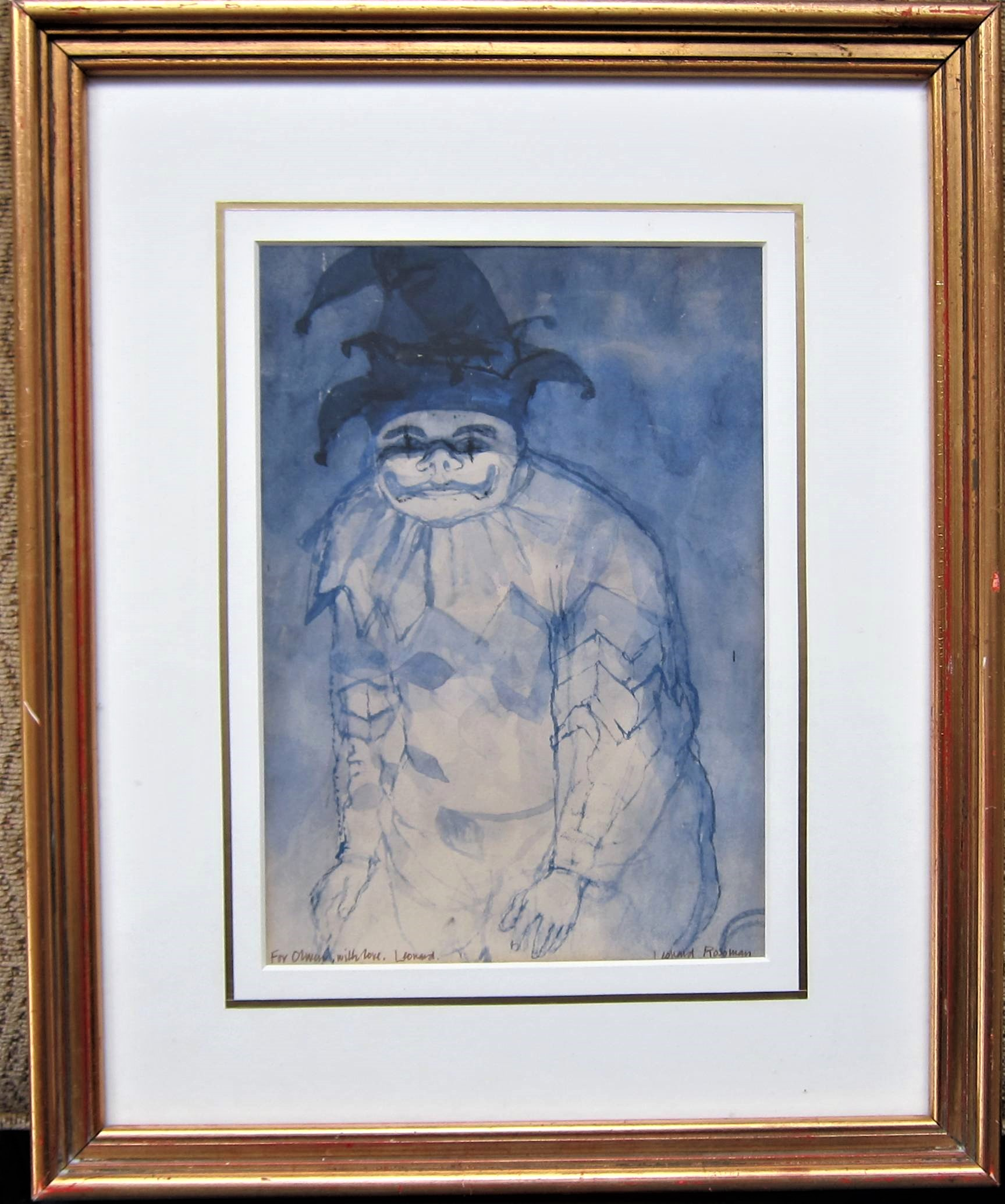 LEONARD ROSOMAN R.A. [1913-2012]. The Fool. watercolour and ink on paper. signed. 25 x 17 cm [ - Image 2 of 2