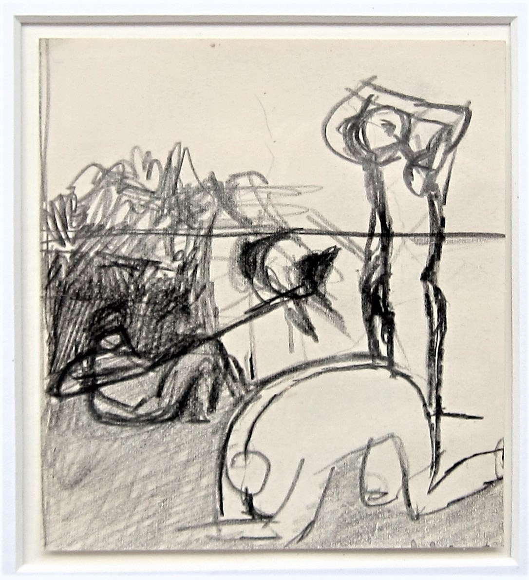 KEITH VAUGHAN [1912-77]. Figures. pencil on paper. 11 x 10 cm - overall including frame 28 x 27
