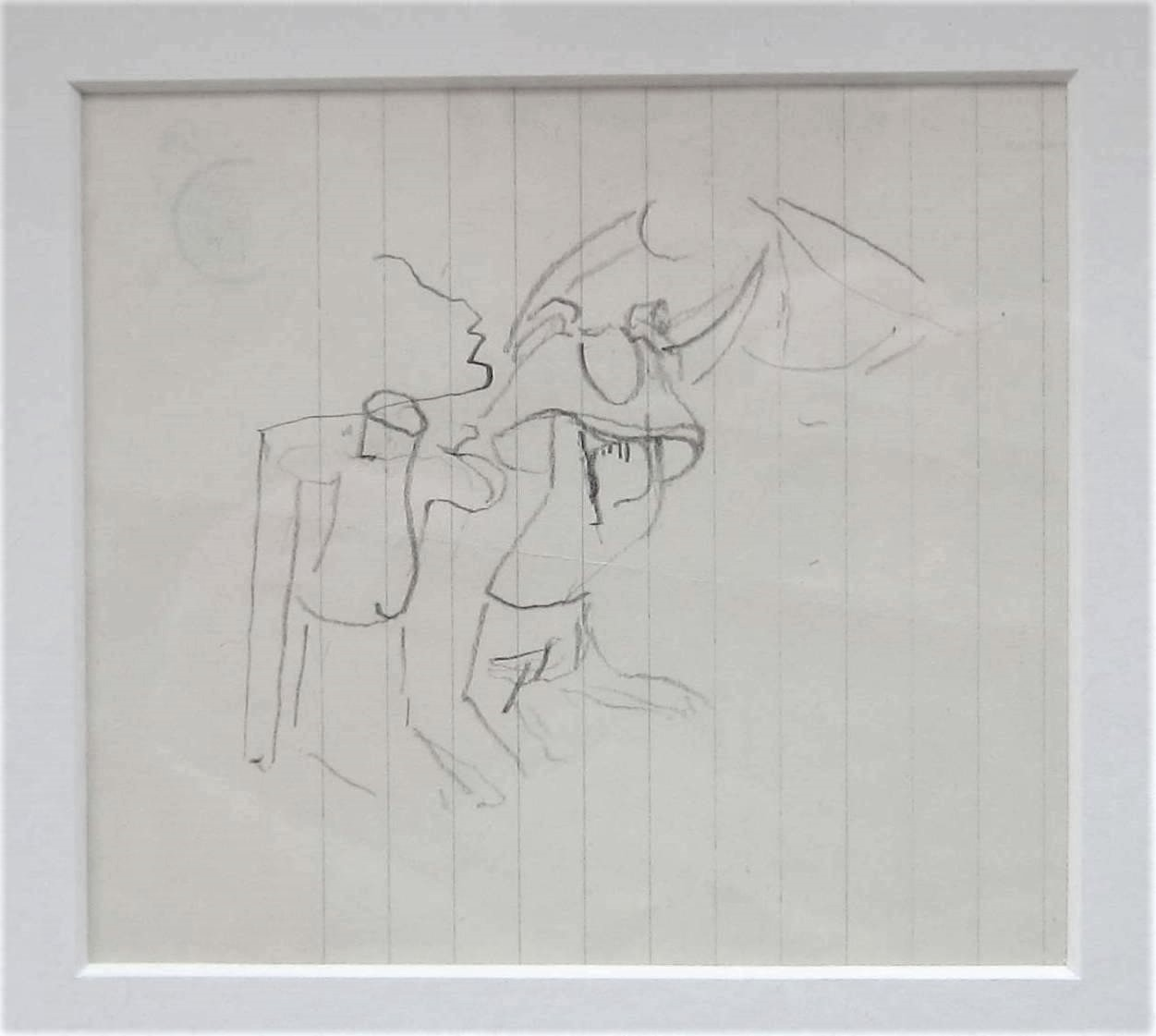 STANLEY SPENCER R.A. [1891-1959]. Figure Study. pencil on paper. studio stamp on reverse. 11 x 12 cm