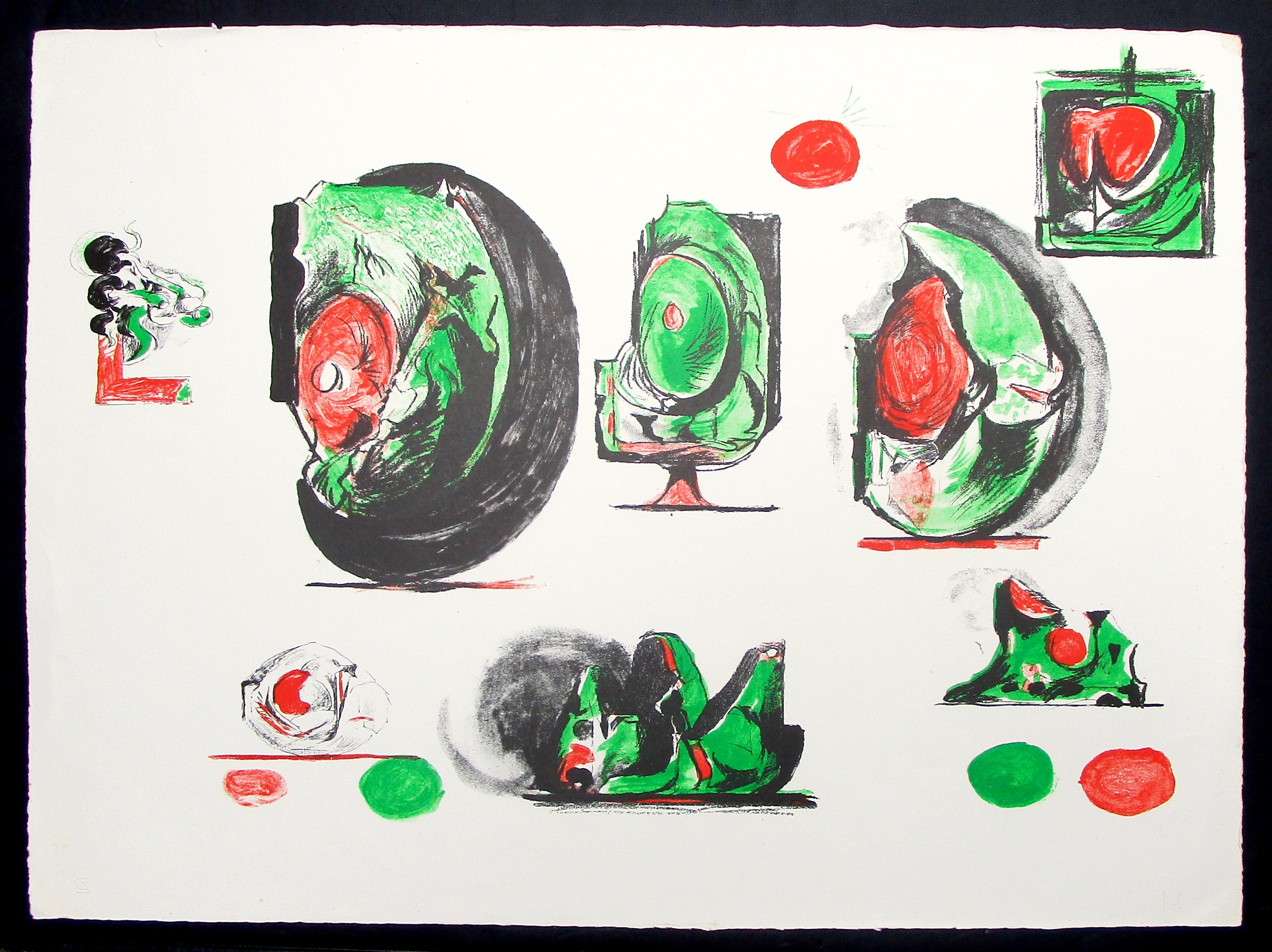GRAHAM SUTHERLAND OM [1903-80]. Sheet of Studies, 1971. Lithograph on wove pape.,Ssigned with