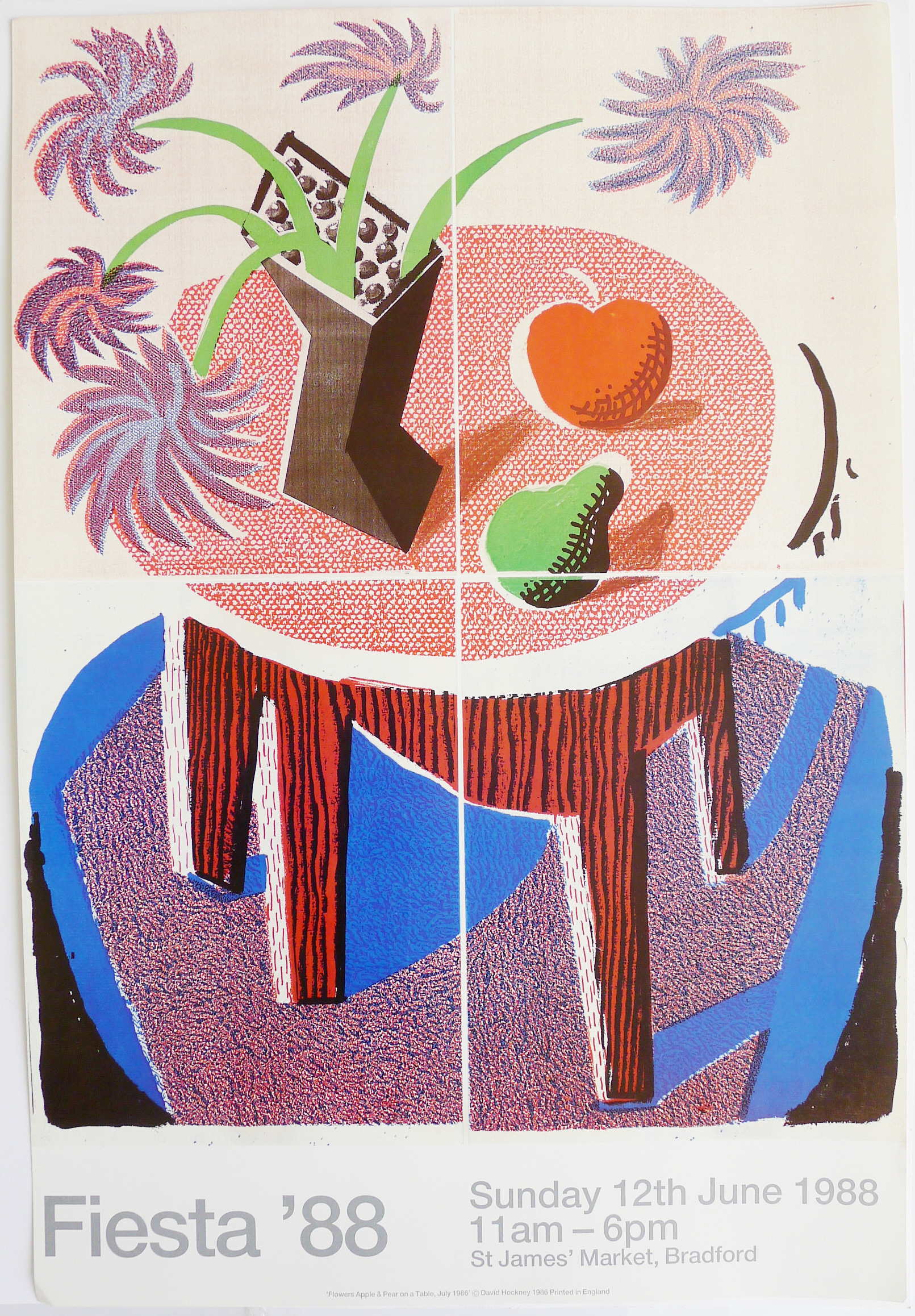 DAVID HOCKNEY RA [b.1937]. Fiesta '88. Lithographic poster on thick, hot-pressed paper, produced
