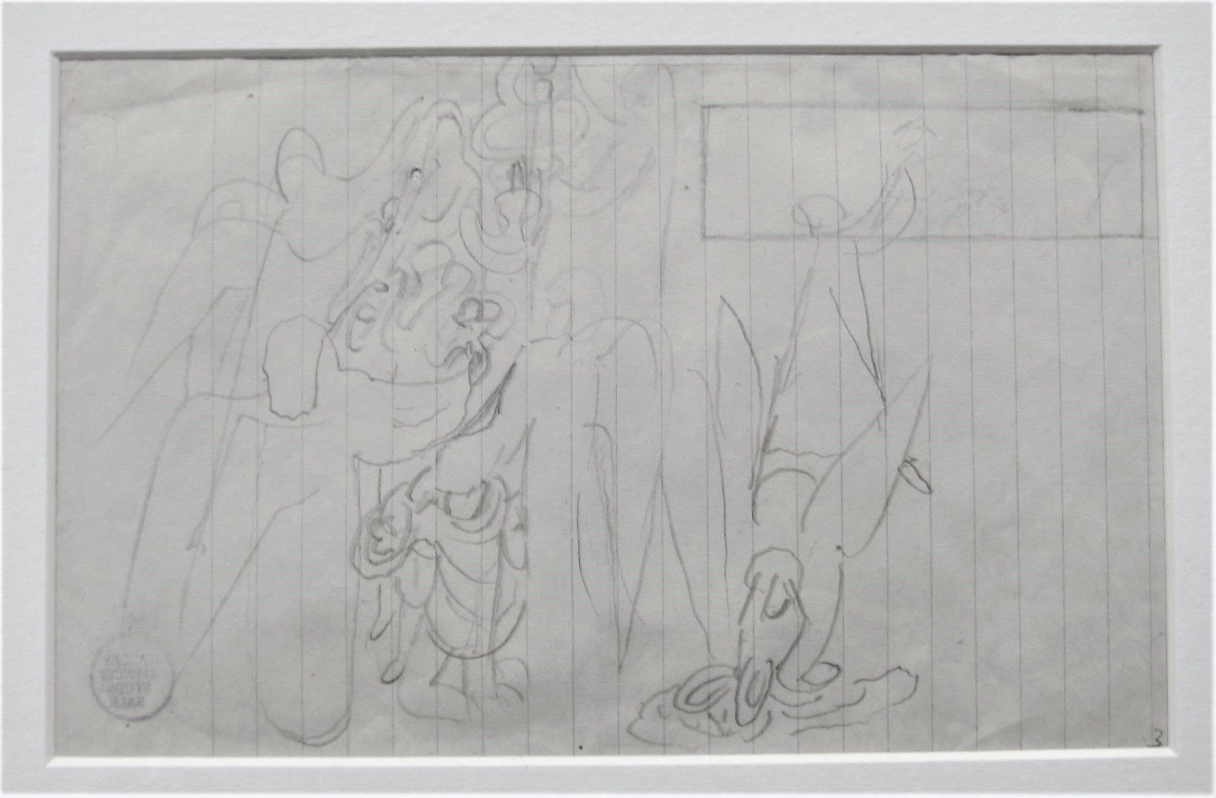STANLEY SPENCER R.A. [1891-1959]. Group of Angels [Angels of the Apocalypse], 1949. pencil on paper;