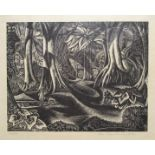 JOHN BUCKLAND WRIGHT [1897-1954]. Forest Pool, 1939. Wood engraving on cream wove pape. Signed in