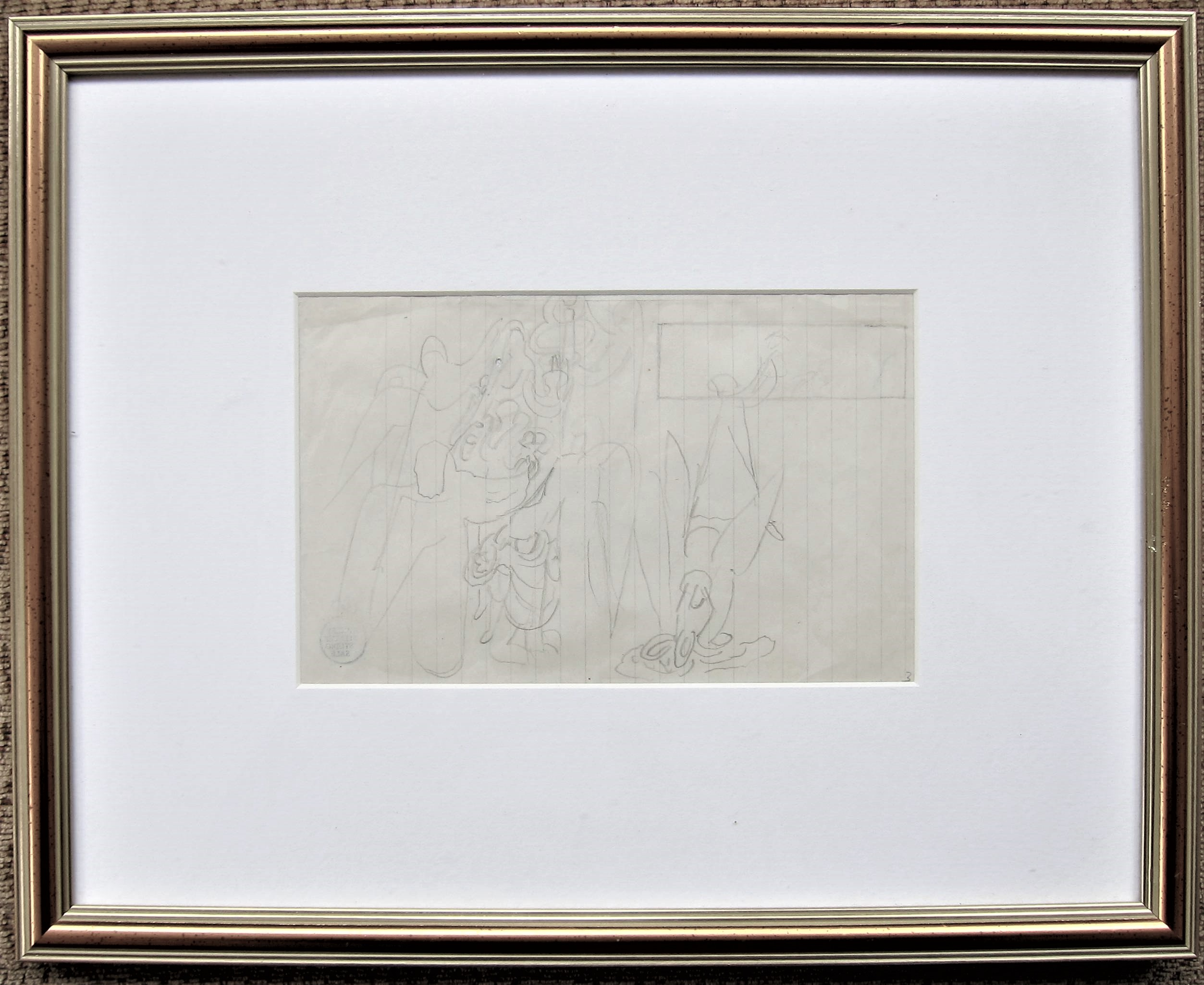 STANLEY SPENCER R.A. [1891-1959]. Group of Angels [Angels of the Apocalypse], 1949. pencil on paper; - Image 2 of 2