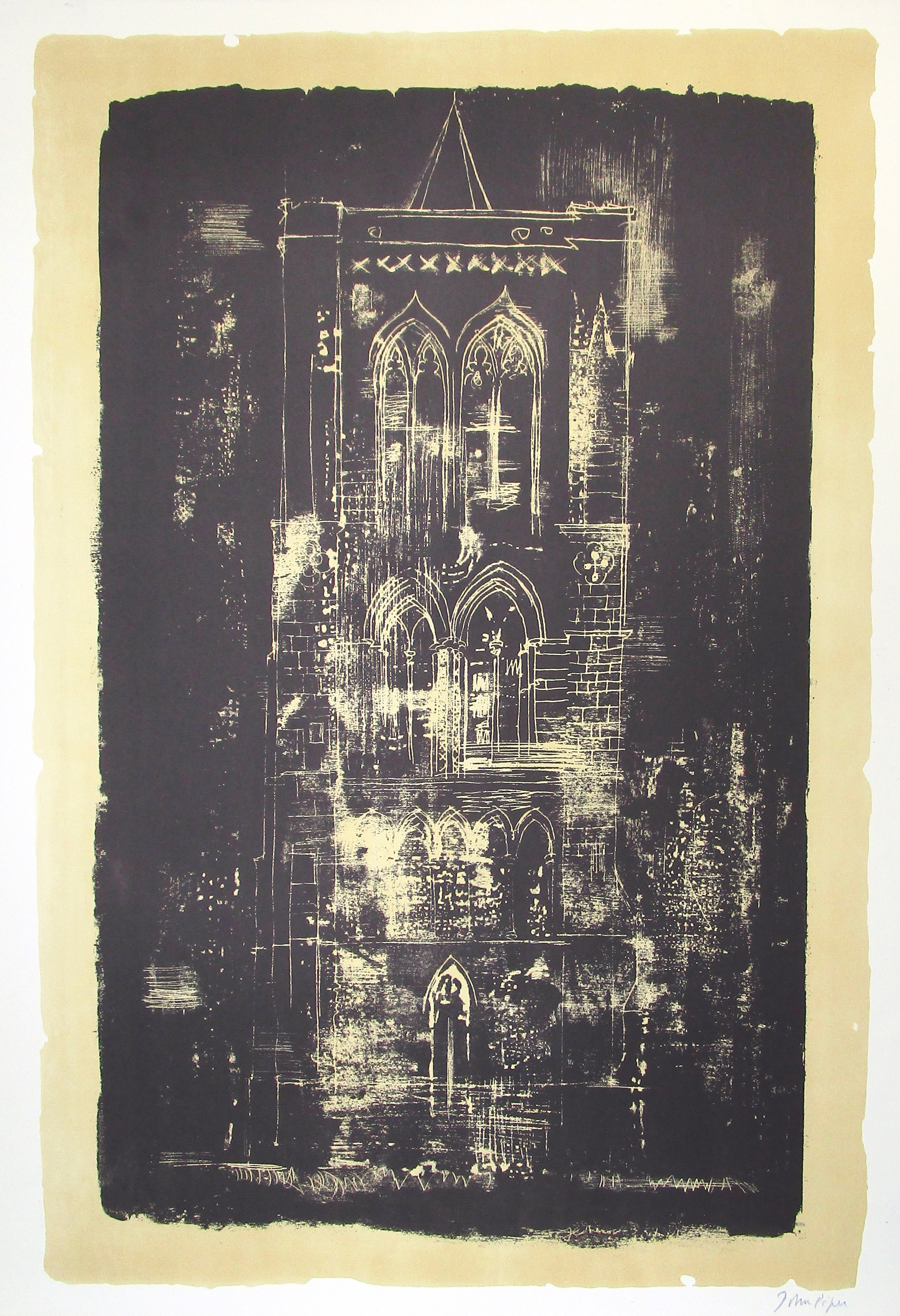 JOHN PIPER CH [1903-1992]. Gedney, Lincolnshire; a tower in the Fens, 1964. Lithograph on handmade