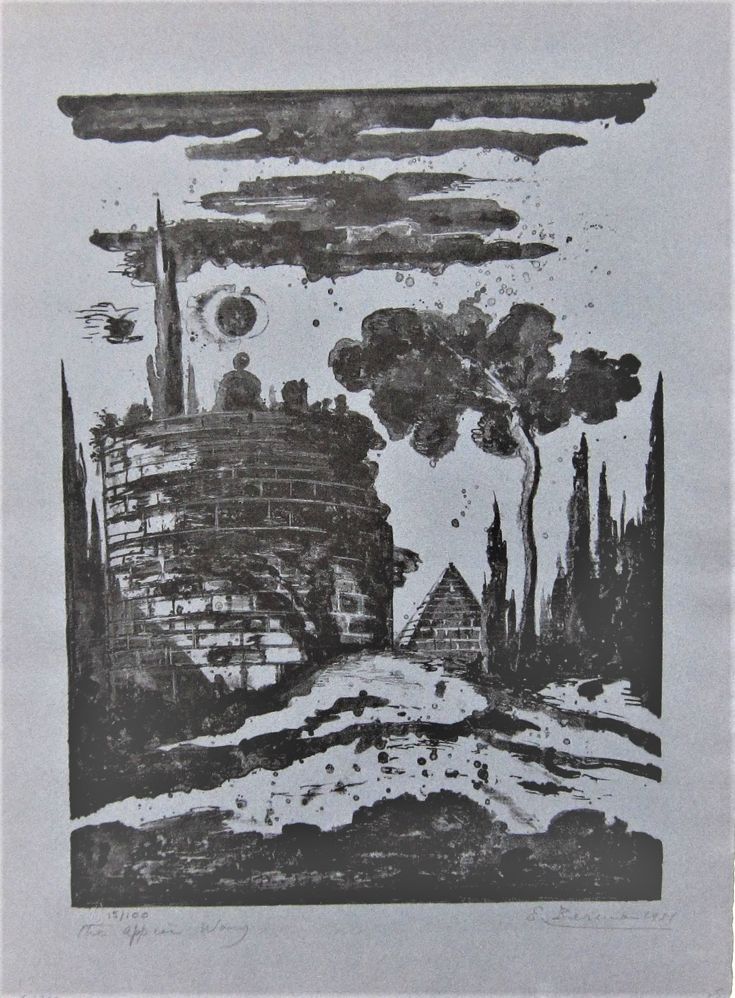 EUGENE BERMAN [1899-1972]. The Appian Way, 1951. lithograph, edition of 100; signed and dated in