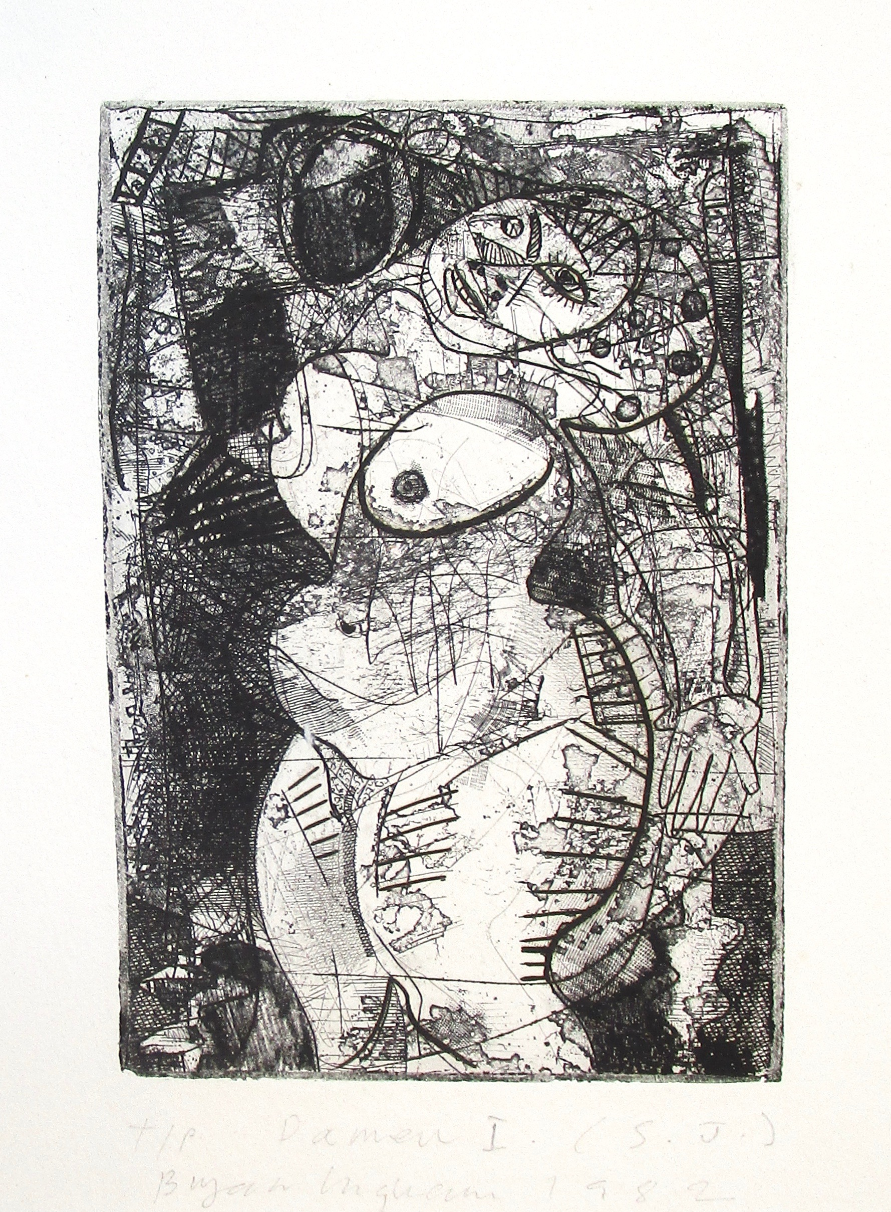 BRYAN INGHAM [1936-1997]. Damen I, 1982. Etching on wove paper. Signed, inscribed with title,