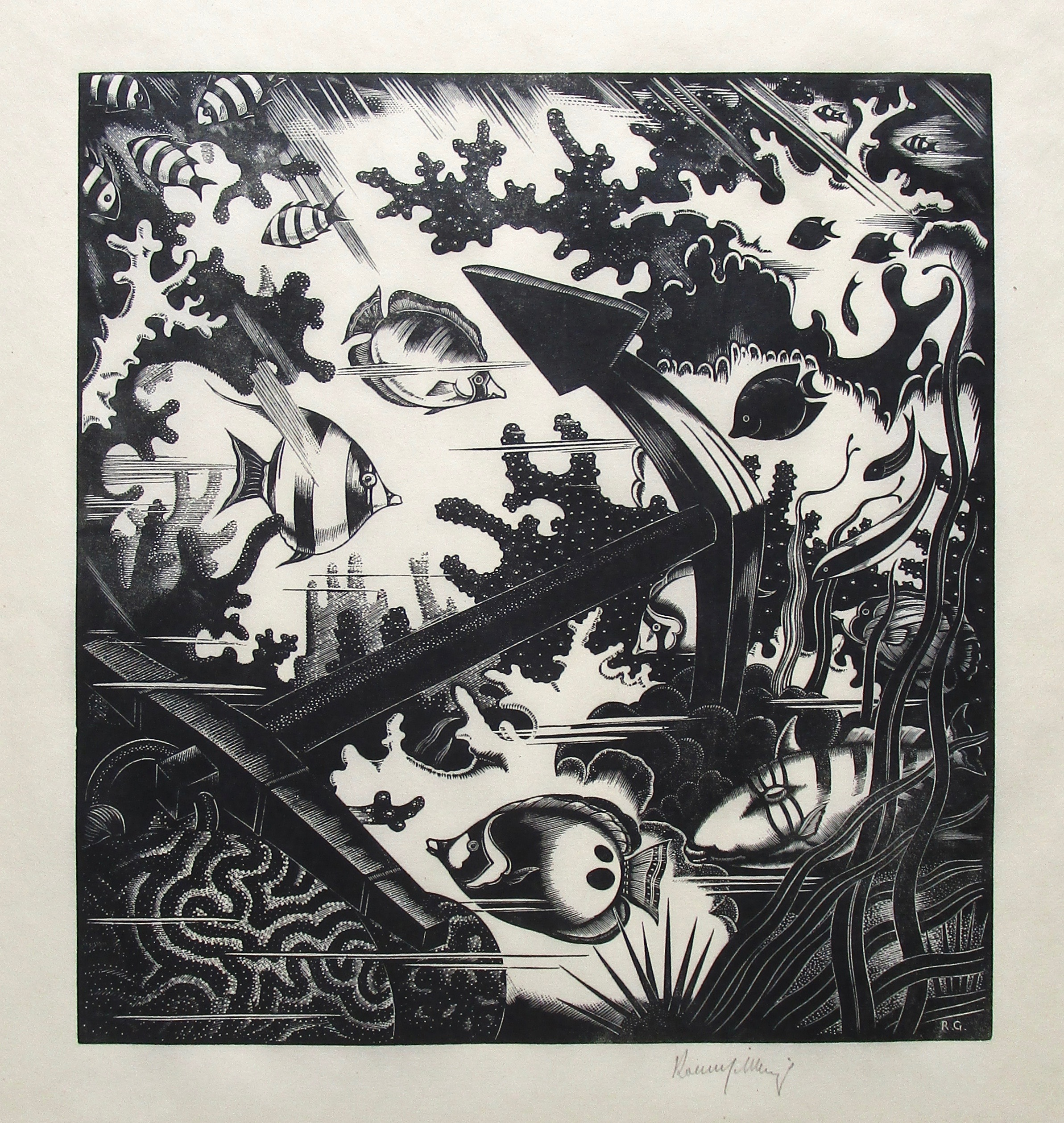 ROBERT GIBBINGS [1889-1958]. The Lost Anchor, 1936. Wood engraving on thin, cream laid paper with