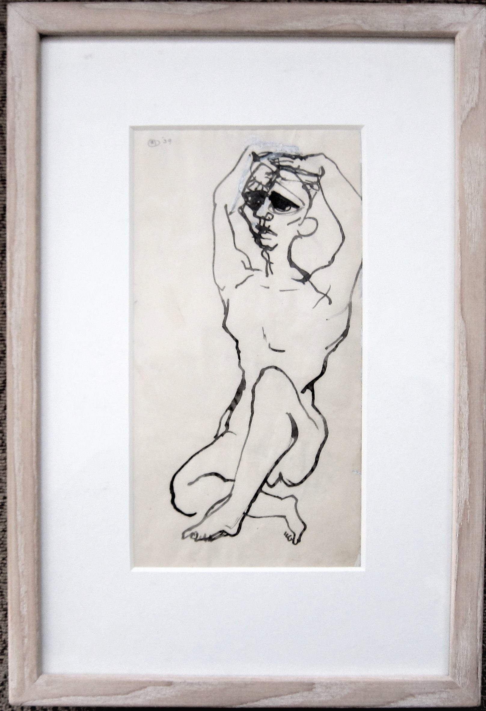 BERNARD MEADOWS R.A. [1915-2005]. Seated Figure, 1939. ink on paper; signed and dated. 25 x 13 cm [ - Image 2 of 2