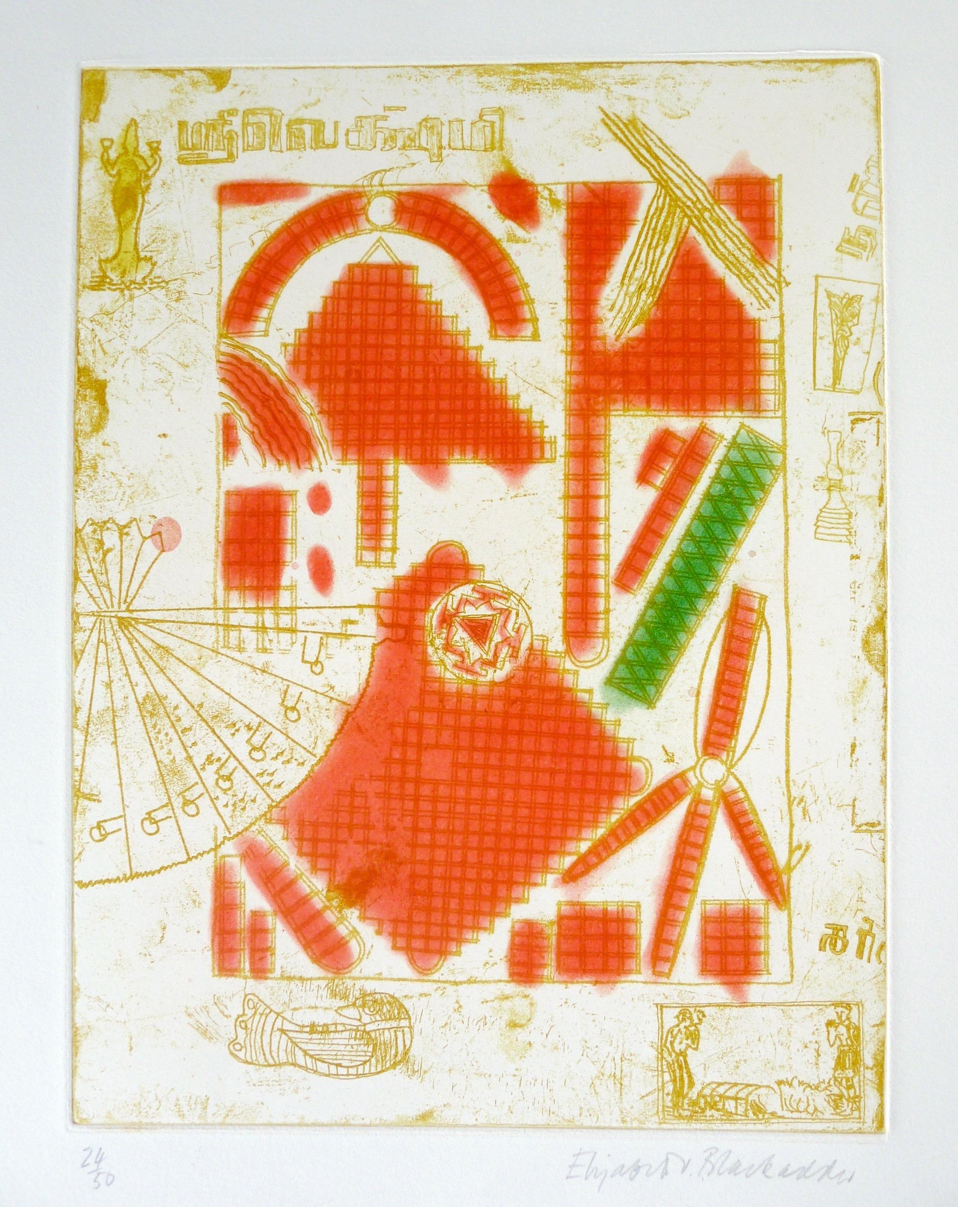 ELIZABETH BLACKADDER DBE RA RSA [b.1931]. Indian Still Life, 1987. Etching and aquatint on