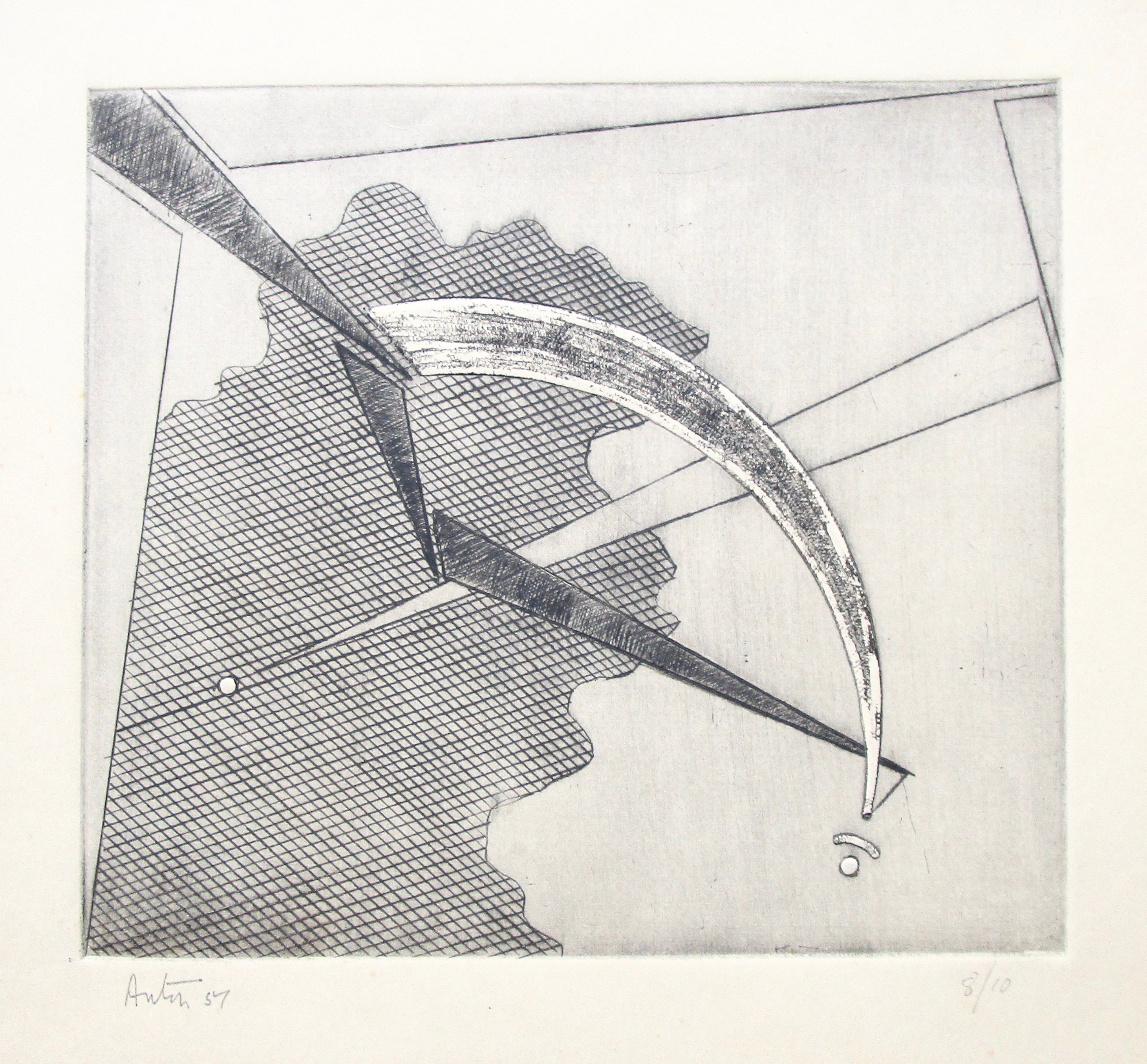 VICTOR ANTON [1909-1980]. Untitled (Harmony and Tension V), 1951. Engraving on cream wove paper.