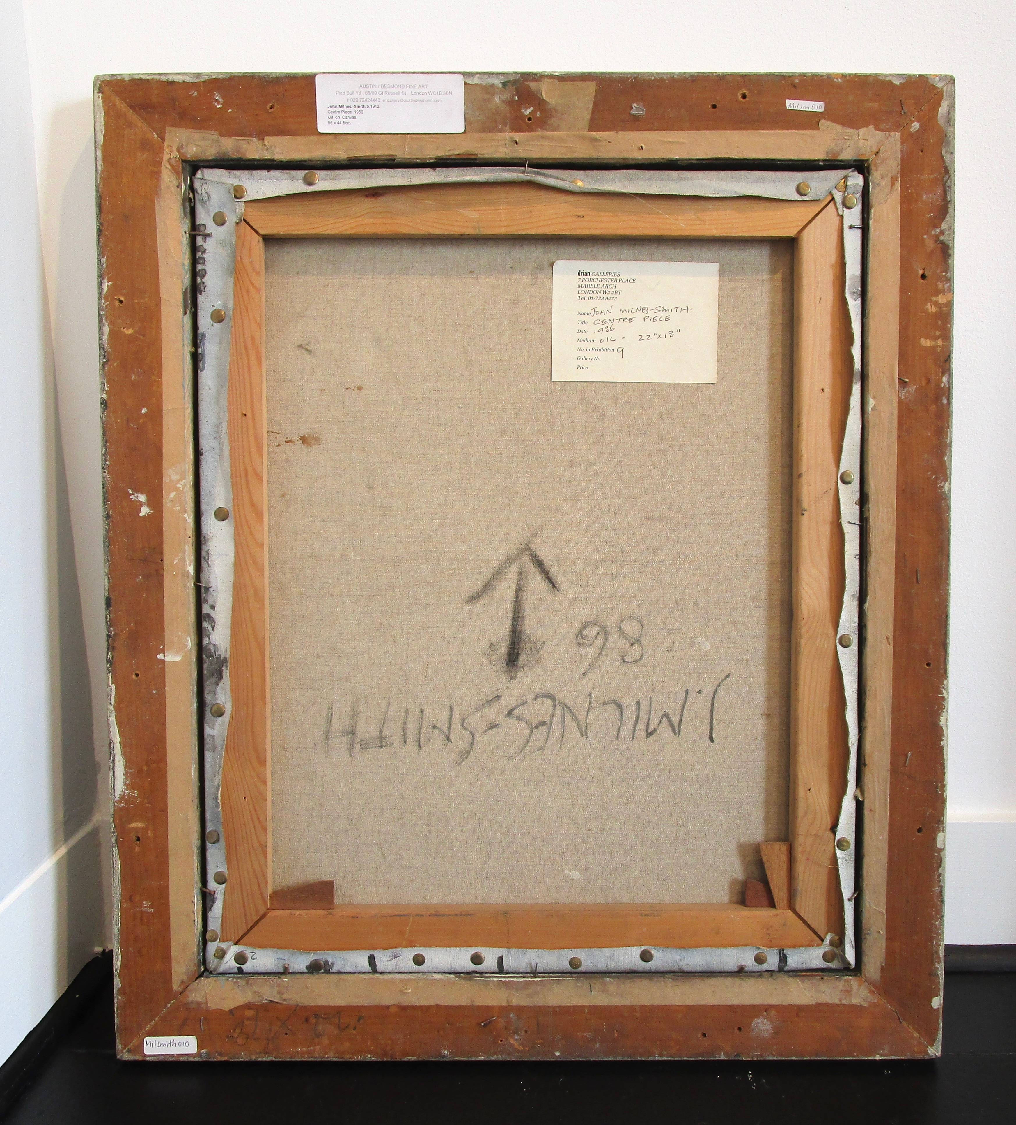 JOHN MILNES-SMITH [1912-1998]. Centre Piece, 1986. Oil on canvas. Signed lower right, titled and - Image 3 of 3
