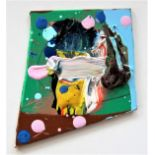 FIONA RAE R.A. [1963 - ]. Abstract [344], 1990. oil and acrylic on board. 11 x 9 cm - overall