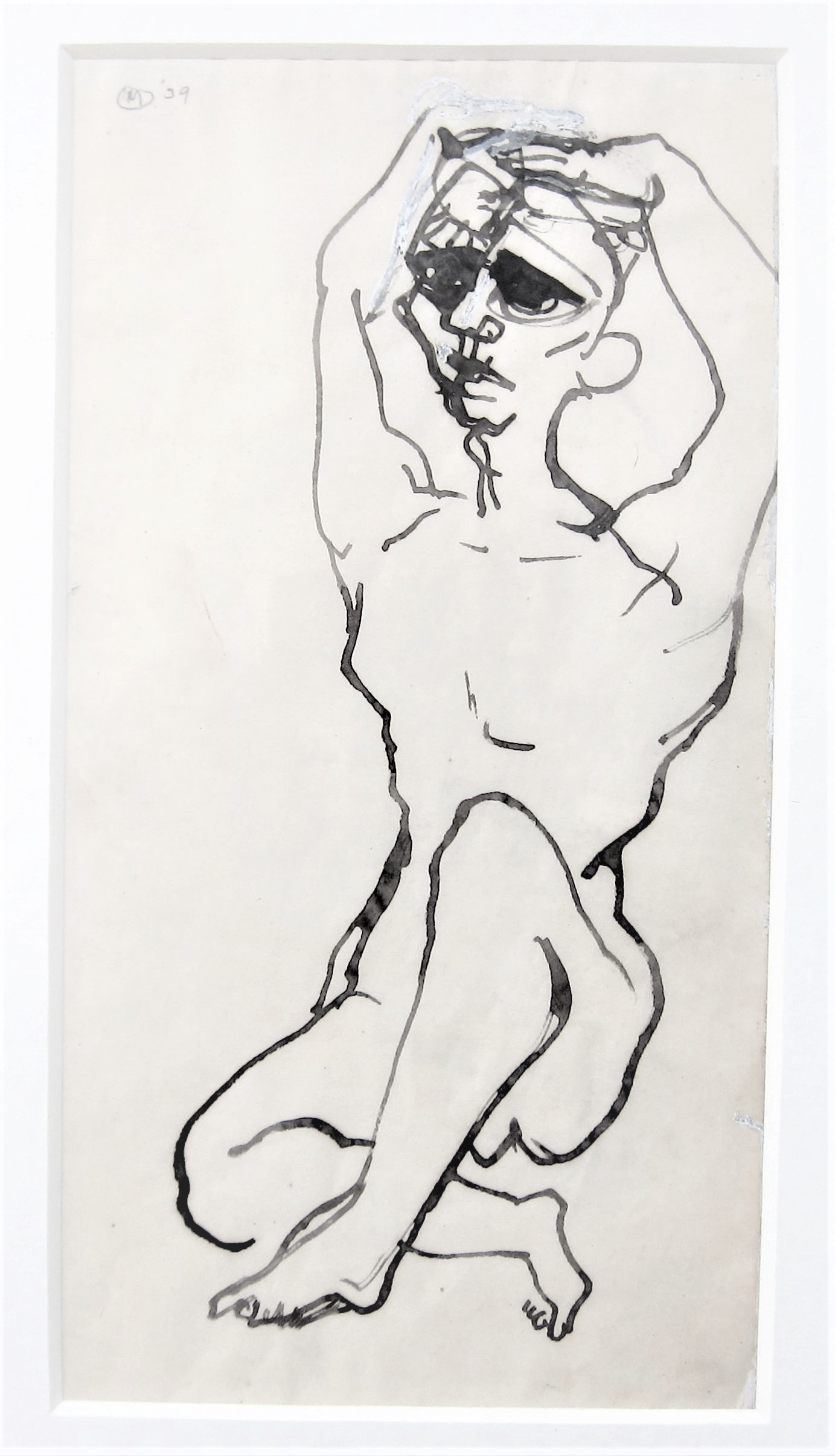 BERNARD MEADOWS R.A. [1915-2005]. Seated Figure, 1939. ink on paper; signed and dated. 25 x 13 cm [