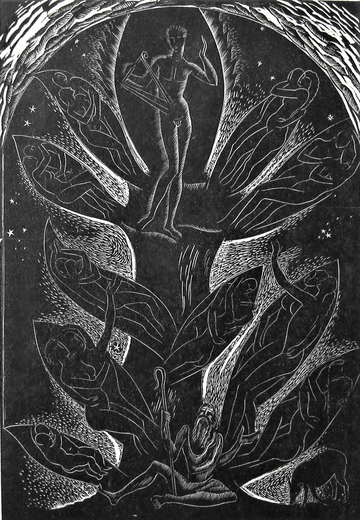 LEON UNDERWOOD [1890-1975]. Figure & Tree [Music..], 1926. wood engraving, edition of 25; 1/25;