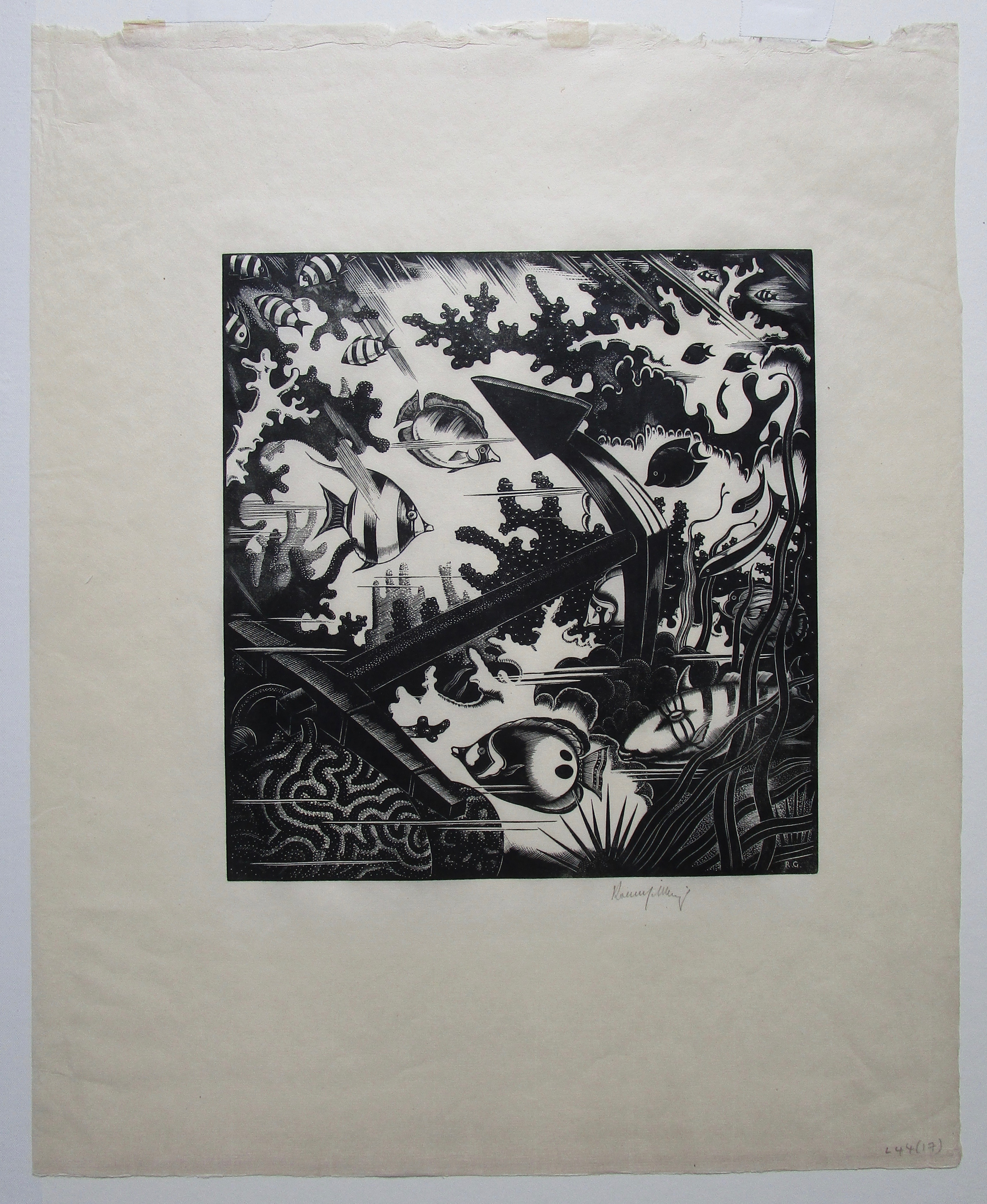 ROBERT GIBBINGS [1889-1958]. The Lost Anchor, 1936. Wood engraving on thin, cream laid paper with - Image 2 of 2