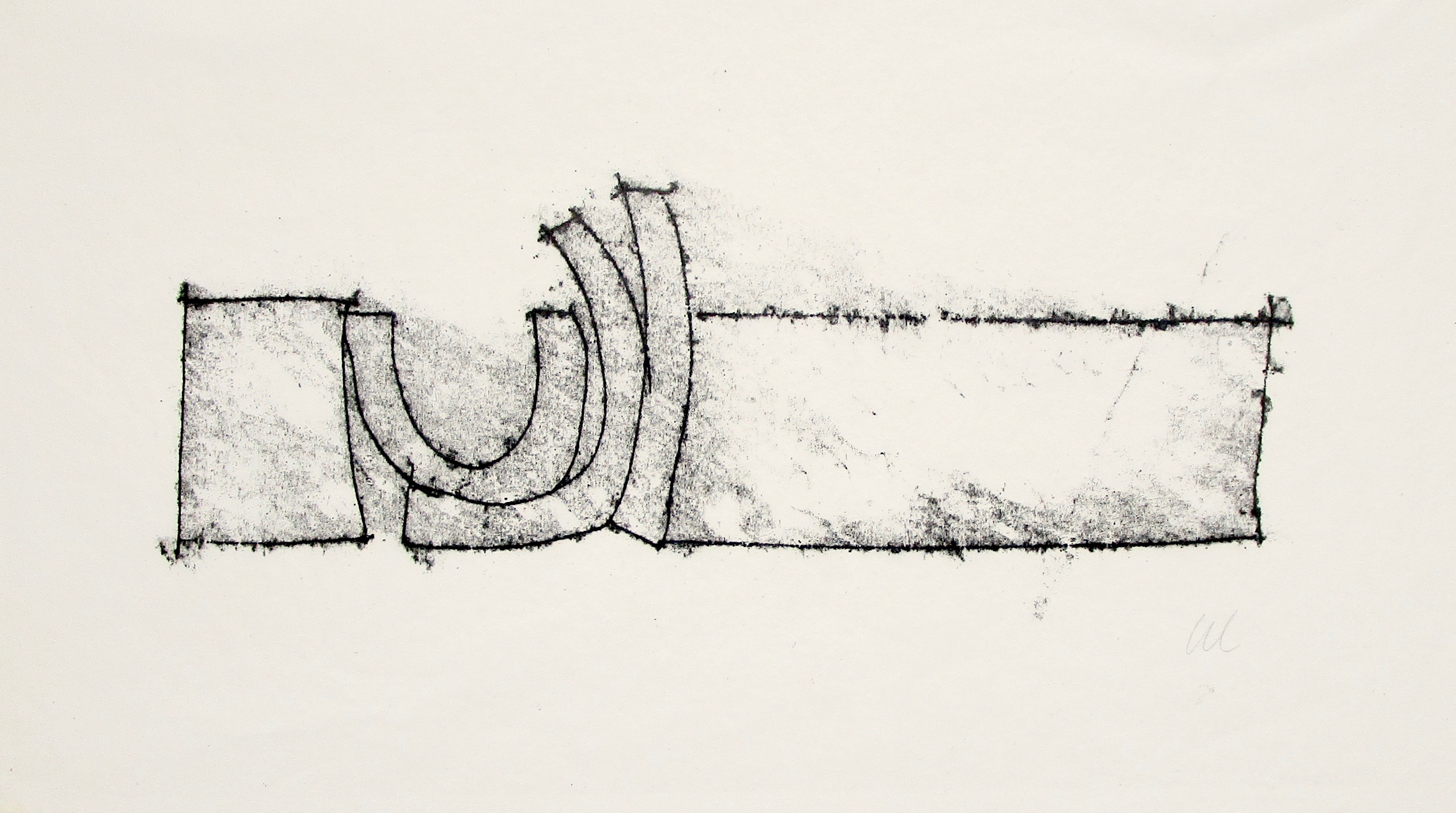 GEOFFREY CLARKE RA [1924-2014]. Untitled [Reclining Form], from the Torii Series 1965. Monotype on