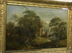 """19TH CENTURY ENGLISH SCHOOL """"Stone country house with trees and figure in red waistcoat in"""