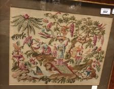 "An early 19th Century woolwork embroidery of a ""Chinoiserie Garden Scene with Woman Catching Carp"