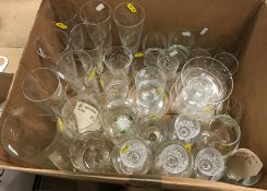 A collection of glassware to include a set of six cut glass conical high ball with engraved