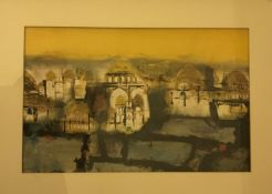 """ATTRIBUTED TO LEO MCDOWELL (1936 - 2011) """"Study of temples"""", mixed media collage,"""