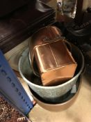 A collection of sundry items to include copper planters, a set of four pictures,