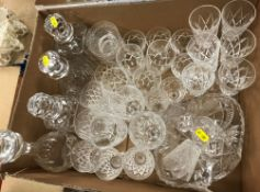 A quantity of various cut glass ware to include brandy balloons, champagne flutes, tumblers, wines,