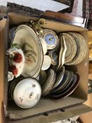 A box containing assorted 19th Century and later china wares to include a 19th Century powder blue