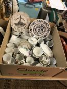 A box containing assorted china wares to include a Thomas white and silver-lined part dinner