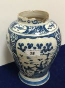 An 18th Century Dutch delft vase of baluster form,