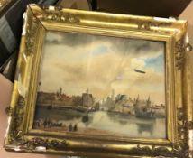 "A box containing assorted pictures to include ""La Collage de la Reine et Celiu del Universite"