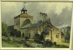 "TREVOR CHAMBERLAIN (b1933) ""Overy Staithe Church, Norfolk"", oil on board, unsigned,"