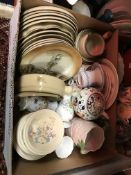 Two boxes of assorted china wares to include Denby and Poole dinner wares, terracotta bowl,