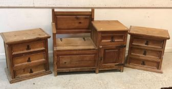 A pair of modern pine three drawer chests with wrought iron handles,
