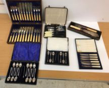 A leather covered case of twelve late Victorian silver teaspoons (by George Howson for Harrison