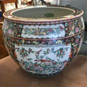 A modern Chinese famille rose decorated fish bowl,
