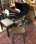 A collection of sundry items to include a Marmet pram, modern wall clock, three various stools,