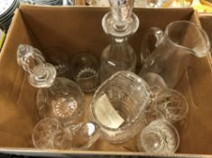 Four boxes of various cut and other glassware to include decanters, water jugs, mugs, sundae dishes,